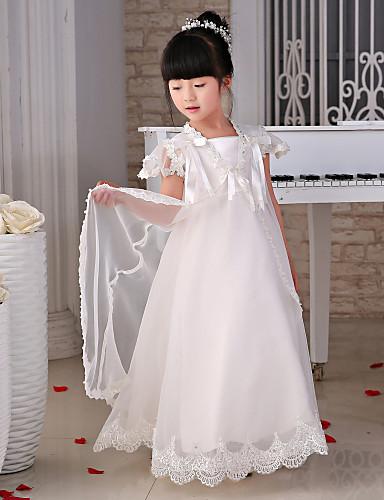 Πριγκίπισσα Μακρύ Φόρεμα για Κοριτσάκι Λουλουδιών - Δαντέλα / Οργάντζα Κοντό Μανίκι Τετράγωνη με