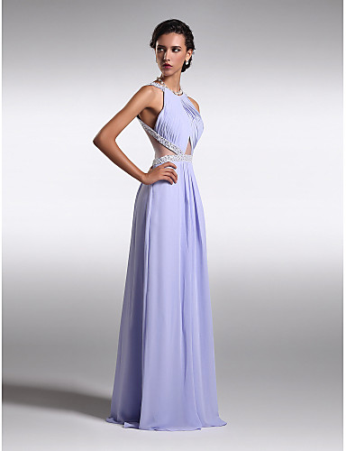 Sheath / Column Scoop Neck Floor Length Chiffon Prom / Formal Evening Dress with Beading Side Draping by TS Couture®