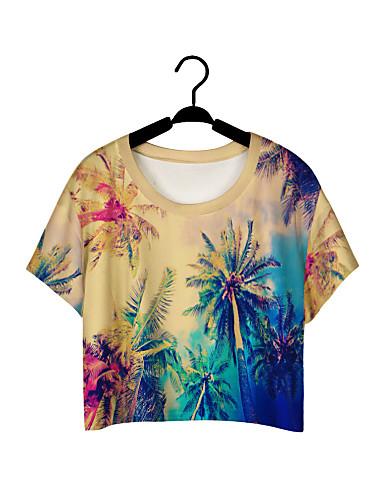 Damen Solide Street Schick Aktiv Lässig/Alltäglich T-shirt,Rundhalsausschnitt Sommer Kurzarm Polyester Mittel