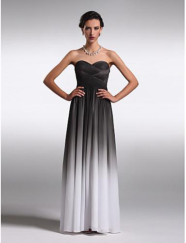 Sütun Straplez Kalp Yaka Yere Kadar Şifon Haç ile Nedime Elbisesi tarafından TS Couture®