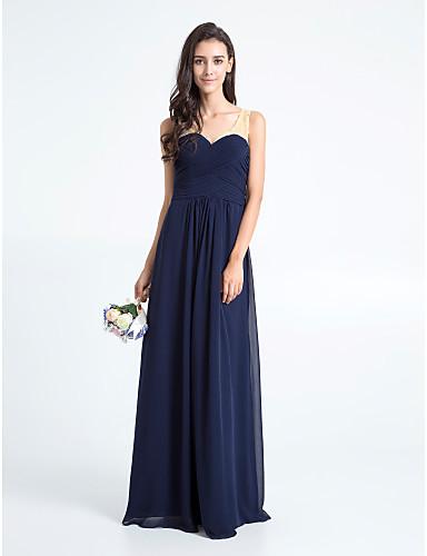 Sheath / Column V-neck Floor Length Chiffon Bridesmaid Dress with Criss Cross by LAN TING BRIDE®