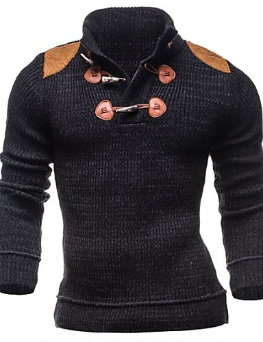 Men's Daily Weekend Casual Color Block Pullover, Long Sleeves Winter Fall Cotton Polyester