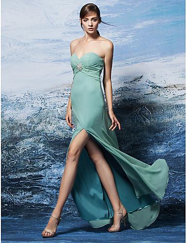 Sütun Kalp Yaka Yere Kadar Jorget Kristal Detaylar ile Nedime Elbisesi tarafından LAN TING BRIDE®