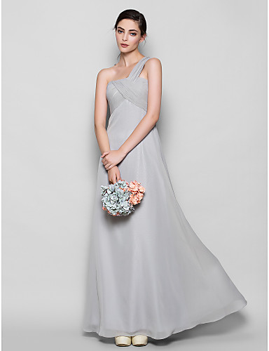 Sheath / Column One Shoulder Floor Length Chiffon Bridesmaid Dress with Criss Cross by LAN TING BRIDE®