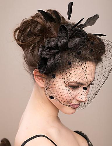 cheap Fascinators-Feather / Net Fascinators / Flowers / Birdcage Veils with 1 Wedding / Special Occasion Headpiece