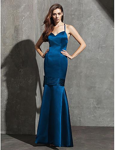 핏 & 플레어 스파게티 스트랩 스윗하트 바닥 길이 새틴 포멀 이브닝 드레스 와 허리끈/리본 주름 으로 TS Couture®