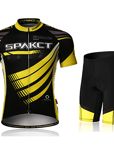 cheap Cycling Clothing-SPAKCT Men's Short Sleeve Cycling Jersey with Shorts Yellow Bike Shorts Jersey Padded Shorts / Chamois Breathable 3D Pad Quick Dry Ultraviolet Resistant Sports Polyester Spandex Curve Mountain Bike