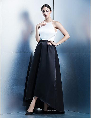 6418b4134317 Γραμμή Α Με Κόσμημα Ασύμμετρο Σατέν Μπλοκ χρωμάτων Χοροεσπερίδα   Επίσημο Βραδινό  Φόρεμα με Ζώνη   Κορδέλα με TS Couture®