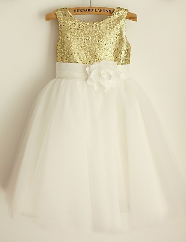 Princess Knee Length Flower Girl Dress - Satin Tulle Sequined Sleeveless Scoop Neck with Bow(s) Sash / Ribbon Sequins by LAN TING BRIDE®