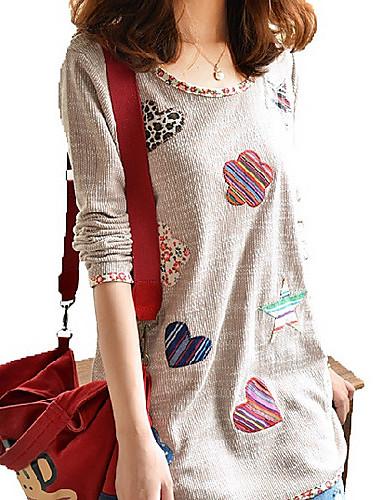 Naiset Pitkähihainen Keskipaksu Pyöreä kaula-aukko Polyesteri Kesä Yksinkertainen Rento/arki Plus-koko T-paita,Patchwork