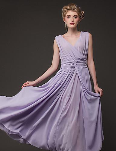 Γυναικεία Φόρεμα Λαιμόκοψη V Μακρύ Αμάνικο Σιφόν