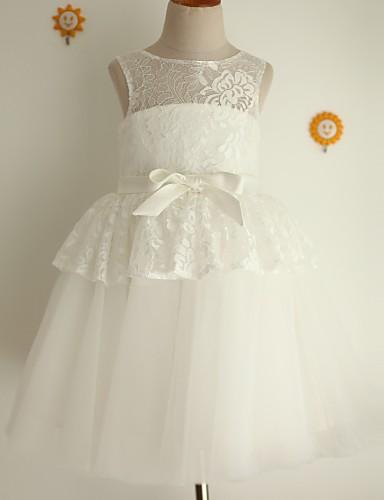 Princesa joelho comprimento flor vestido menina - laço Tulle jóia sem mangas pescoço com fita