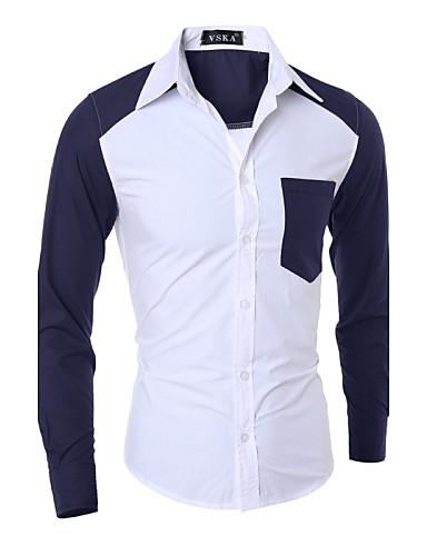 Langærmet Farveblok / Patchwork Mænds Arbejde / Formelt Skjorte Bomuld / Polyester Blå / Hvid