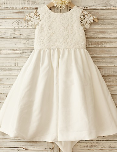A-Line Knee Length Flower Girl Dress - Cotton Lace Short Sleeves Scoop Neck with Bow(s) by LAN TING BRIDE®