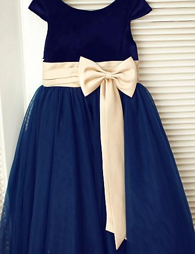 A-Line Tea Length Flower Girl Dress - Tulle Velvet Short Sleeves Scoop Neck with Bow(s) Sash / Ribbon by LAN TING BRIDE®