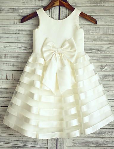 Πριγκίπισσα Μέχρι το γόνατο Φόρεμα για Κοριτσάκι Λουλουδιών - Σατέν Τούλι Αμάνικο Scoop Neck με Φιόγκος(οι) με LAN TING Express