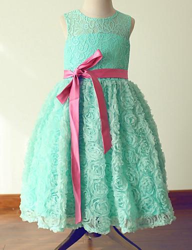 Princess Tea Length Flower Girl Dress - Lace Satin Sleeveless Jewel Neck with Bow(s) Sash / Ribbon by LAN TING BRIDE®