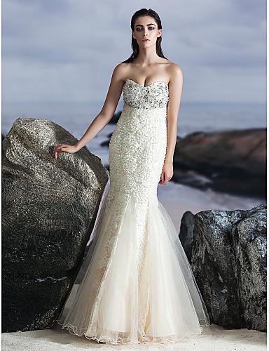 Τρομπέτα / Γοργόνα Καρδιά Μακρύ Τούλι Επίσημο Βραδινό Φόρεμα με Χάντρες με TS Couture®