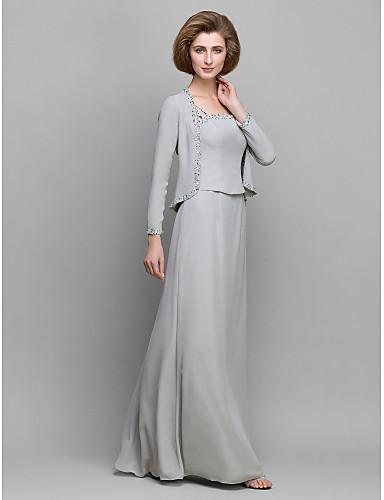 Lanting Bride® Ołówkowa / Kolumnowa Sukienka dla matki panny młodej Sięgająca podłoża Długi rękaw Szyfon - Koraliki