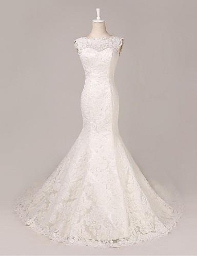 Sereia Vestido de Noiva Cauda Corte Decote em U Renda com