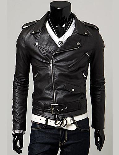 남성용 한 색상 피크트 라펠 보통 자켓, 펑크 & 고딕 주말 레더렛 겨울 가을