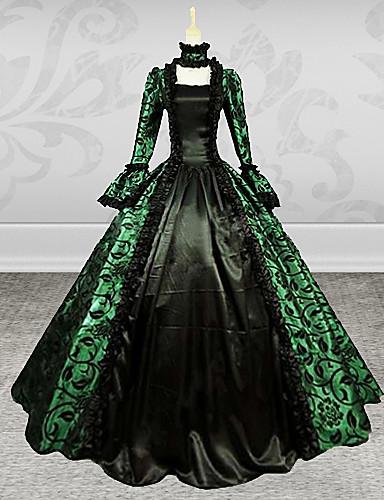 중세시대 빅토리안 코스츔 여성용 드레스 가면 파티 코스튬 그린 빈티지 코스프레 레이스 공단 긴 소매 포엣 긴 길이