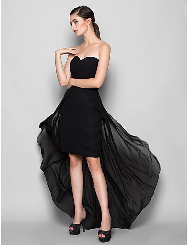 Lanting Bride® Асимметричное Шифон Платье для подружек невесты - Футляр Сердцевидный вырез Большие размеры / Миниатюрный с Перекрещивание