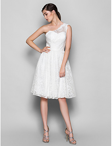 A-Line One Shoulder Knee Length Lace Bridesmaid Dress with Lace by LAN TING BRIDE®