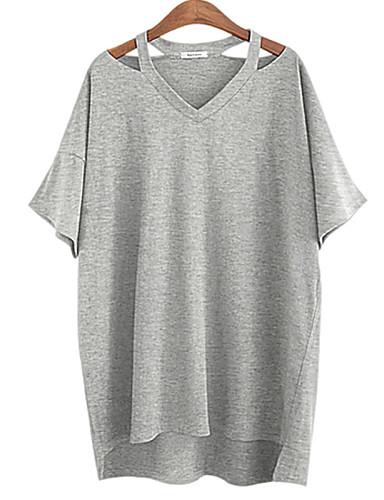 billige Topper til damer-Bomull Flaggermusermer Løstsittende V-hals Store størrelser T-skjorte Dame - Ensfarget, Delt Hvit / Sommer / Utskjæring