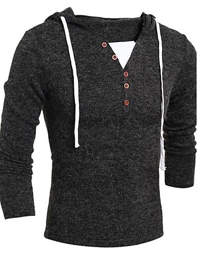 男性用 シンプル 長袖 フード付き プルオーバー - カラーブロック フード付き / ウール