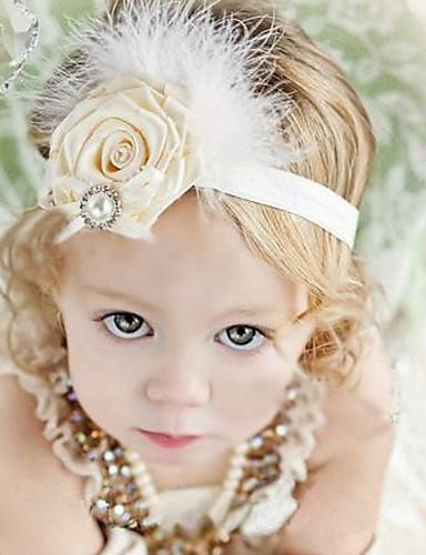 Kid's Cute Pearls Floral Feather Elastic Headband