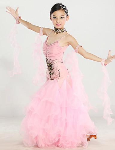 Ballroom Dance Outfits Performance Polyester / Nylon / Spandex Draping / Embroidery / Crystals / Rhinestones Sleeveless Dress / Neckwear / Wristlet / Modern Dance