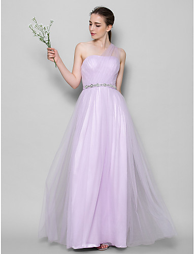 A-Line One Shoulder Floor Length Tulle Bridesmaid Dress with Crystals / Criss Cross by LAN TING BRIDE® / Open Back