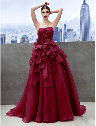 be30b435234 Ball Gown Sweetheart Neckline Chapel Train Organza Prom   Formal Evening  Dress with Tier by TS Couture®