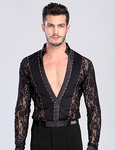 Latin Dance Tops Men's Training / Performance Chinlon / Lace Lace / Crystals / Rhinestones Long Sleeve Top