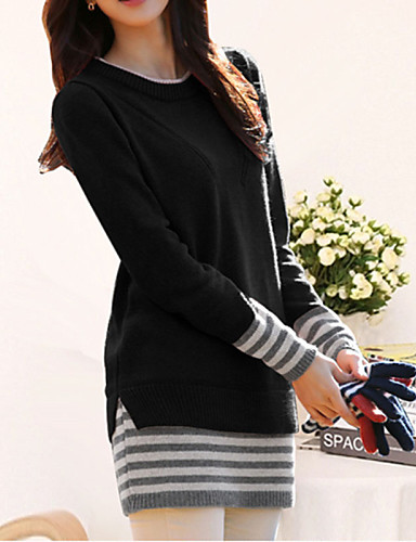 Women's Sophisticated Long Sleeves Cotton Long Pullover - Striped