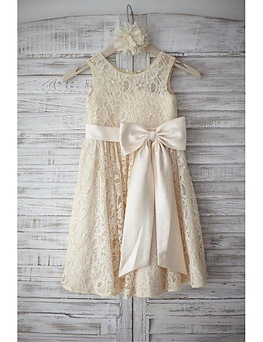 A-Line Knee Length Flower Girl Dress - Lace Sleeveless Scoop Neck with Bow(s) Sash / Ribbon by LAN TING BRIDE®