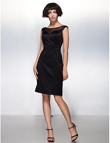 Eng anliegend Illusionsausschnitt Knie-Länge Satin Kleines Schwarzes Kleid Cocktailparty Kleid mit Plissee durch TS Couture®