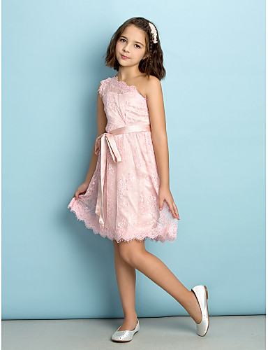 A-Line One Shoulder Knee Length Lace Junior Bridesmaid Dress with Lace by LAN TING BRIDE®