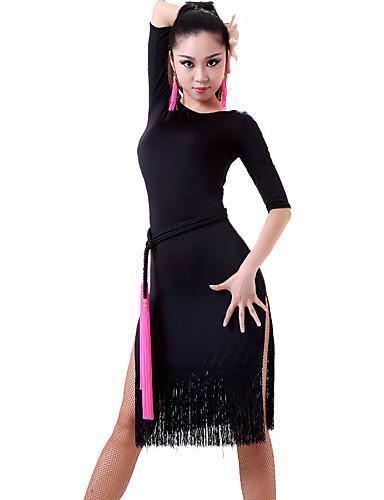 Dança Latina Vestidos e Saias Mulheres Actuação Náilon Chinês 1 Peça Meia manga Vestido