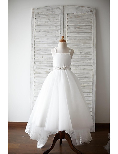 A-Line Asymmetrical Flower Girl Dress - Lace Satin Tulle Sleeveless Straps with Beading Bow(s) Sash / Ribbon by LAN TING BRIDE®