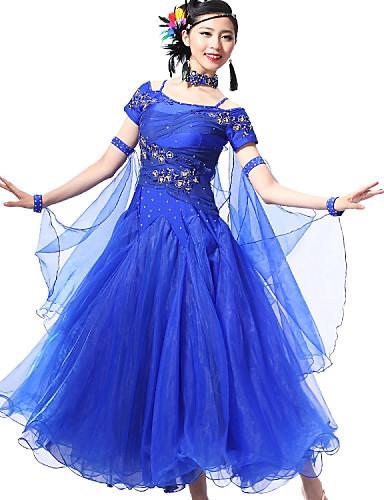 ボールルームダンス セット 女性用 性能 スパンデックス クレープ スパンコール クリスタル / ラインストーン 半袖 ドレス ブレスレット Neckwear