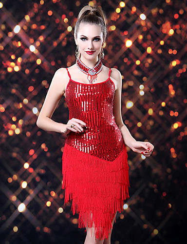 Latin Dance Dresses Women's Performance Polyester Spandex Sequined Sequin Tassel Dress