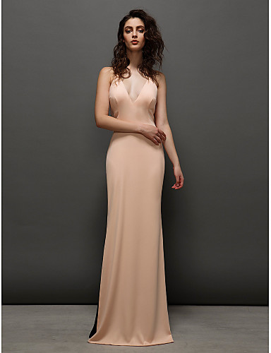 Sheath / Column V Neck Sweep / Brush Train Chiffon Prom Formal Evening Dress with Pleats Split Front by TS Couture®