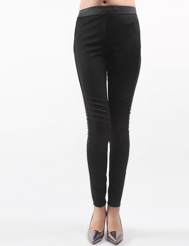Women's Polyester Thin Solid Color Legging Black