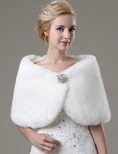 Sleeveless Faux Fur Wedding / Party Evening / Casual Fur Wraps / Wedding  Wraps With Rhinestone Shawls