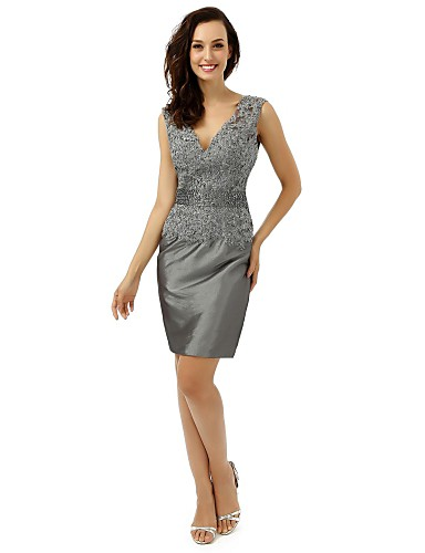 Sheath / Column V-neck Knee Length Satin Mother of the Bride Dress with Crystal Detailing Sequins