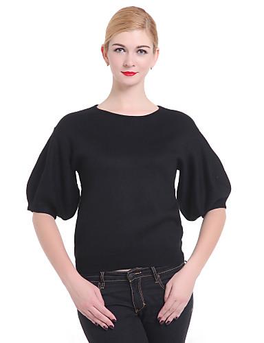Damen Solide Schmetterling Ärmel Standard Pullover, Rundhalsausschnitt Winter Schwarz Einheitsgröße / Aufflackern-Hülsen