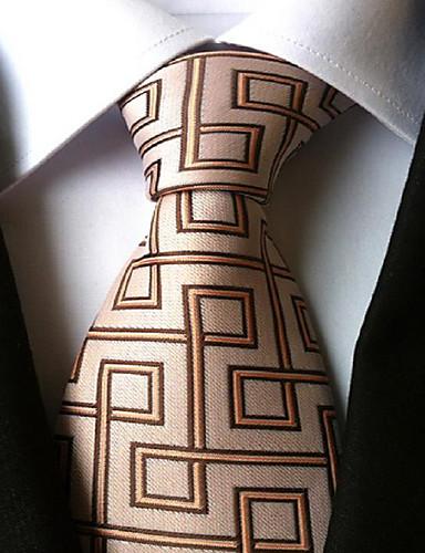 Men Wedding Cocktail Necktie At Work Beige Coffee Tie