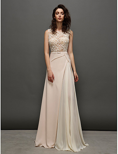 A-Line Jewel Neck Sweep / Brush Train Chiffon / Sheer Lace Prom / Formal Evening Dress with by TS Couture® / See Through